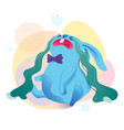 blue bunny with shopping bags vector image vector image