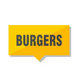 burgers price tag vector image vector image