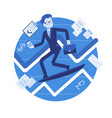 business chart surfing man vector image