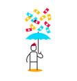 business of a man holding blue umbrella and vector image vector image