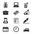 Businessman and office tools icon set vector image