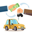 buying a car dealer buyer hand car vector image
