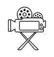 camera film record movie tripod outline vector image