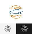 Car insurance logo with care hands around vector image vector image