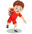 cartoon little boy playing rugby vector image