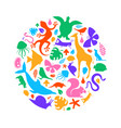 colorful wild animal icon circle shape isolated vector image