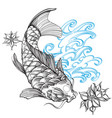 contour image koi fish with wave and flower vector image vector image