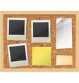 Corkboard Bulletin Board with Photos and Paper