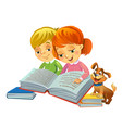 cute girl and boy reading book vector image vector image