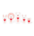 doodle romantic animals cartoon pets with red vector image