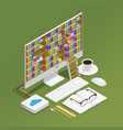 e-learning isometric composition vector image vector image