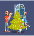 family and christmas tree vector image vector image