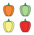 flat sketch fresh ripe bellpepper set vector image