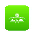 flower farm icon green vector image vector image