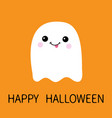 flying ghost spirit showing tongue boo happy vector image vector image