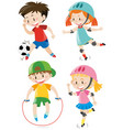 four kids doing different sports vector image vector image