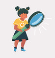 girl and a magnifier on a white background vector image vector image