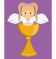 girl angel cartoon cup icon graphic vector image vector image