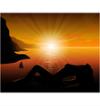 Girl from the sea at sunset vector image