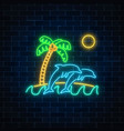 glowing neon summer sign with jumping dolphins vector image vector image