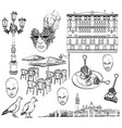 hand drawing set of venice sketch vector image vector image