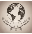 hand planet earth business icon vector image