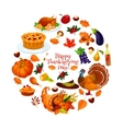 Happy Thanksgiving Day round sticker emblem vector image vector image