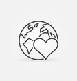 heart with earth outline icon donating vector image
