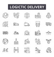 logistic delivery line icons for web and mobile vector image