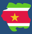 map outline and flag of suriname a horizontal vector image vector image