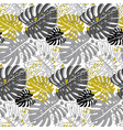modern pattern with monstera leaves in monochrome vector image vector image