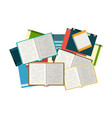 open books with piles of books on the background vector image