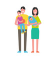 parents and kids isolated on white happy family vector image