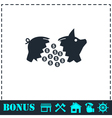 Piggy icon flat vector image