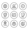 set round line icons globe vector image vector image