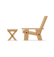 Side View Of Wooden Garden Chair And Table vector image