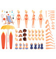summer characters faces female human body parts vector image vector image