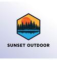 sunset pine conifer spruce cedar cypres tree vector image vector image