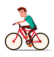 teen boy riding on bicycle healthy vector image