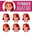 teen girl avatar set face emotions high vector image vector image