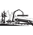 tractor loading wood timbers in forest vector image vector image