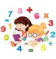 two girls reading math book vector image vector image
