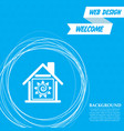 warm home icon on a blue background with abstract vector image