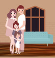 young happy family with children pose indoor vector image vector image