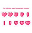 3d valentine day love red heart rotation animation vector image