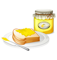 A bottle of jam and a sandwich vector image vector image