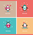 a set christmas greeting cards with funny vector image vector image