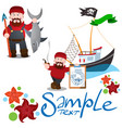 a set of on the theme of fishing fisherman with a vector image vector image