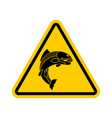 attention fish yellow prohibitory road sign vector image vector image