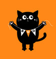 black cat holding bunting flag boo happy vector image